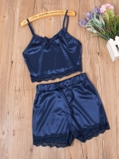 Lace Detail Crop Camisole With Shorts 2 Piece Pajamas Set
