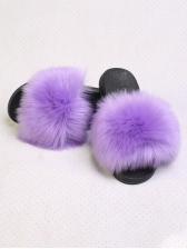 Summer Fluffy Faux Fur Womens Slippers