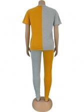 Color Block Short Sleeve Casual Two Piece Pants Set
