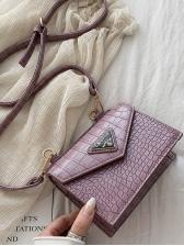 Crocodile Grain Pure Color Square Shape Cross Shoulder Bags
