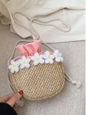 Semicircle Drawstring Stereo Flower Straw Crossbody Bag