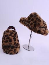 5cm Heel Contrast Color Faux Fur House Slippers