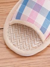 Modern Plaid Linen Womens House Slippers