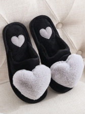 Cute Heart Warm Fluffy Indoor Slippers