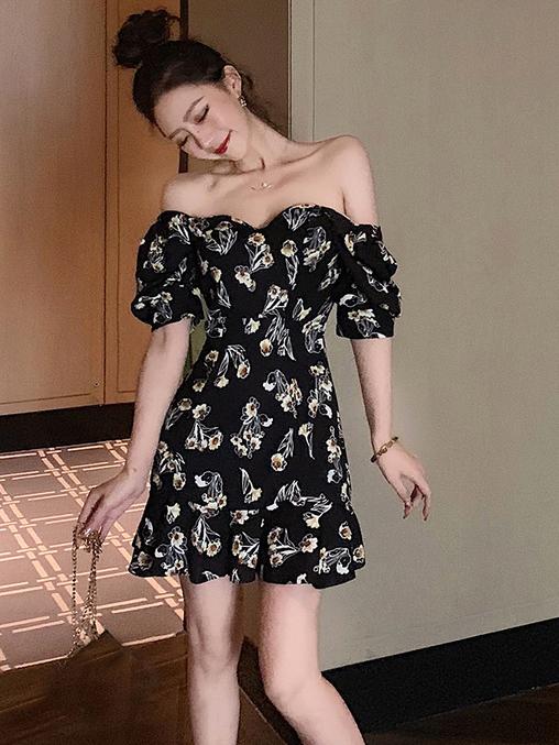 Puff Sleeve Floral Black A-Line Dress