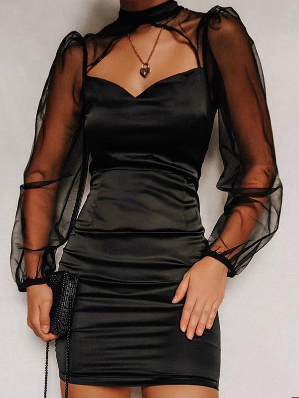 Hollow Out Gauze Lantern Sleeve Black Bodycon Dress