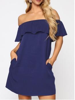 Ruffle Detail Large Hem Solid A-Line Dress
