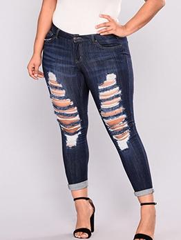 Plus Size Hole Leg Skinny Women Distressed Jeans