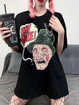 Graffiti Cartoon Short Sleeve Cool Black T Shirt