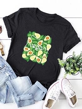 Avocado Pattern Short Sleeve Oversized Crew Neck T Shirt