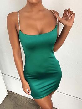 Euro Low-Cut Sleeveless Mini Satin Dress For Women