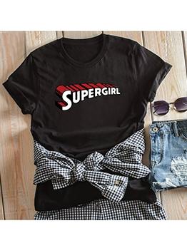 Super Girl Letter Printed Crew Neck Oversized T Shirt
