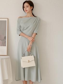 Inclined Shoulder Elegant Light Blue A-Line Midi Dress
