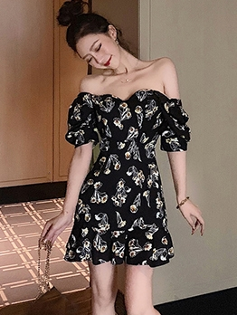 Puff Sleeve Floral Black A-Line Dress