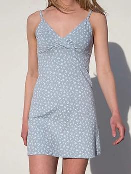 Fresh Style Summer V Neck Floral Sleeveless A-Line Dress