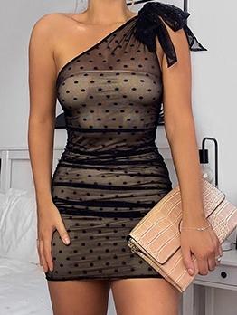 Inclined Shoulder Polka Dots Summer Dresses