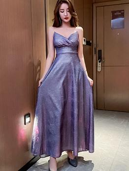 Elegant V Neck Glitter Sleeveless Womens Formal Dresses