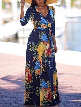 V Neck Printed Long Sleeve Maxi Dress