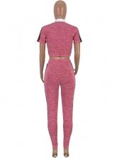 Contrast Color Zipper Crop Top And Pant Set