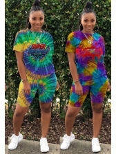 Multicolored Tie Dye Top And Shorts Two Piece Outfits