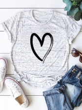 Simple Style Heart Printed Plus Size Cheap T Shirt