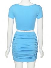 V Neck Twist Ruched Crop Top And Skirt Set