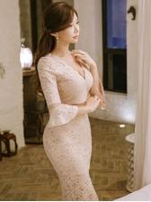V Neck Flare Long Sleeve Lace Dress