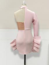 One Shoulder Beading Ruffled Long Sleeve Cocktail Dresses