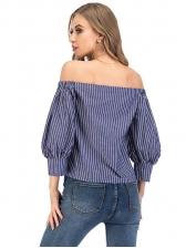 Lantern Sleeve Striped Off Shoulder Blouse