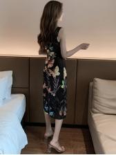 Hot Sale Split Hem Print Fitted Cheongsam Dress