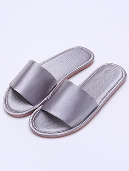 Simple Pure Color Women Bedroom Slippers