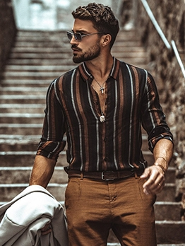 Stylish Striped Men Long Sleeve Shirts