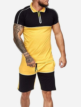 Summer Color Block Short Sleeve Activewear
