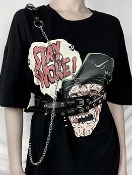 Punk Style Double Buckle Chain Black Belt For Women