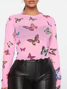 Lightweight Gauze Butterflies Printed Skinny Pink T Shirt