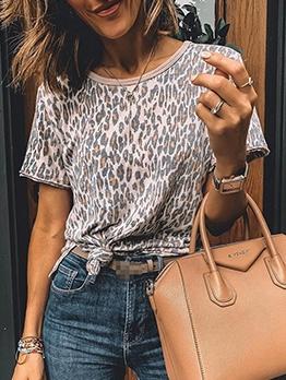 Summer Leopard Print Short Sleeve Crew Neck T shirt