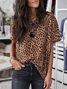 Crew Neck Leopard Print Short Sleeve T Shirts