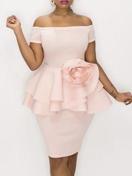 Off Shoulder Ruffled Stereo Rose Cocktail Dresses