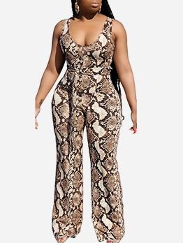 U Neck Snake Print Summer Sleeveless Jumpsuits