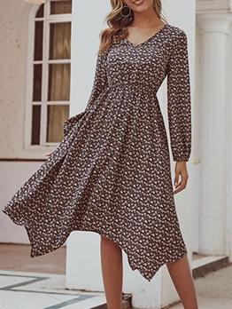 Vintage Ditsy Printed Ladies Long Sleeve Dress