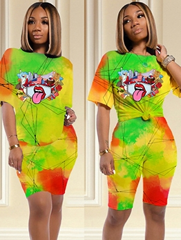Multicolored Printed Trendy Summer Two Piece Shorts Set
