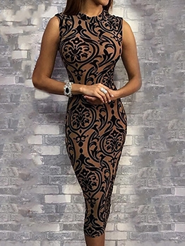 Seductive Printed Sleeveless Bodycon Dress