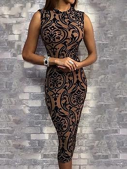 Seductive Printed Sleeveless Bodycon Dress