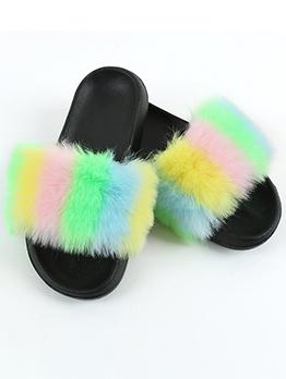 Eva Soles Slip On Color Block Fox Fur House Slippers