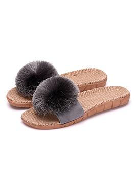 Simple Design Pom Pom Linen House Slippers