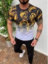 Stylish 3D Gradient Flower Printed t Shirt