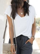 Simple Style Plain White V Neck T Shirts For Women