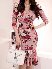 Elegant Rose Printed Ruffled Ladies Dress