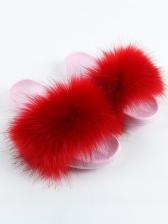 Pure Color Faux Fox Fur Women House Slippers