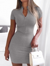 Front Zip Up Solid Short Sleeve Bodycon Dress